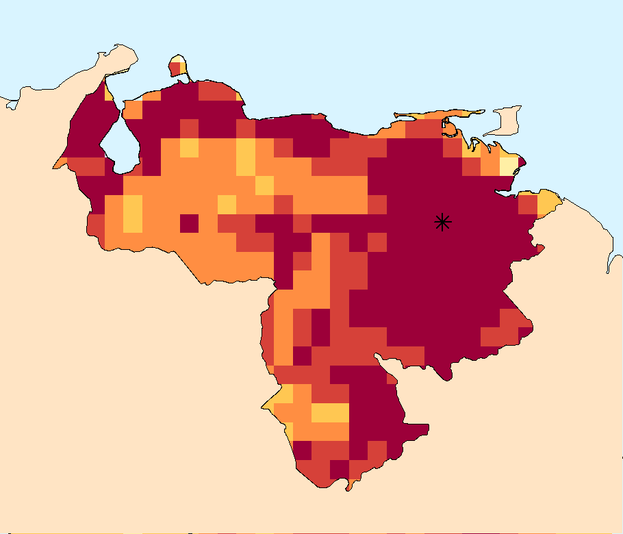 WSIM   Composite Water Anomaly Index   Map for Venezuela (April - September 2015). Location of the Guri Dam is highlighted with a star.