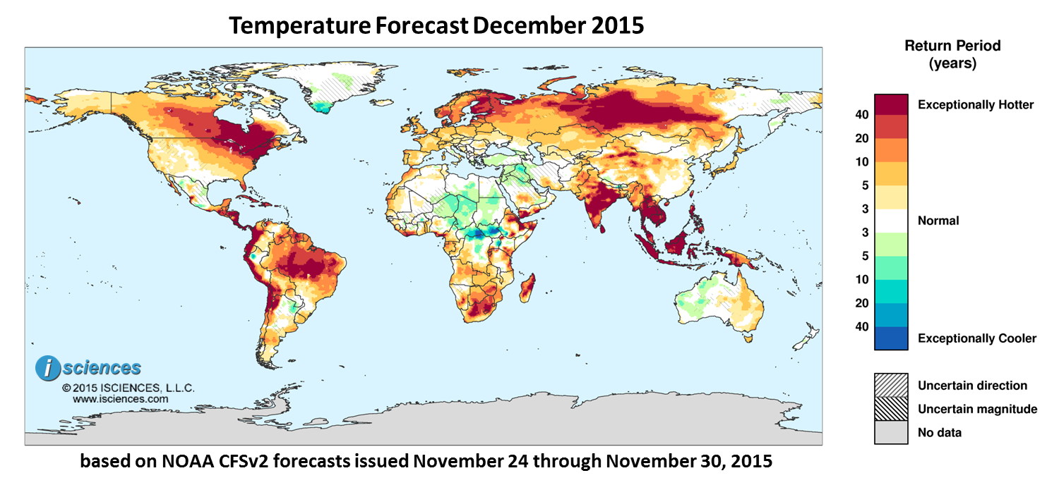Temperature outlook for December 2015. Reds indicate above normal monthly average temperature. Blues indicate below normal monthly average temperature.The darker the color, the more extreme the anomaly relative to a 1950-2009 climatic baseline. Colors are based on the expected return period of the anomalies.