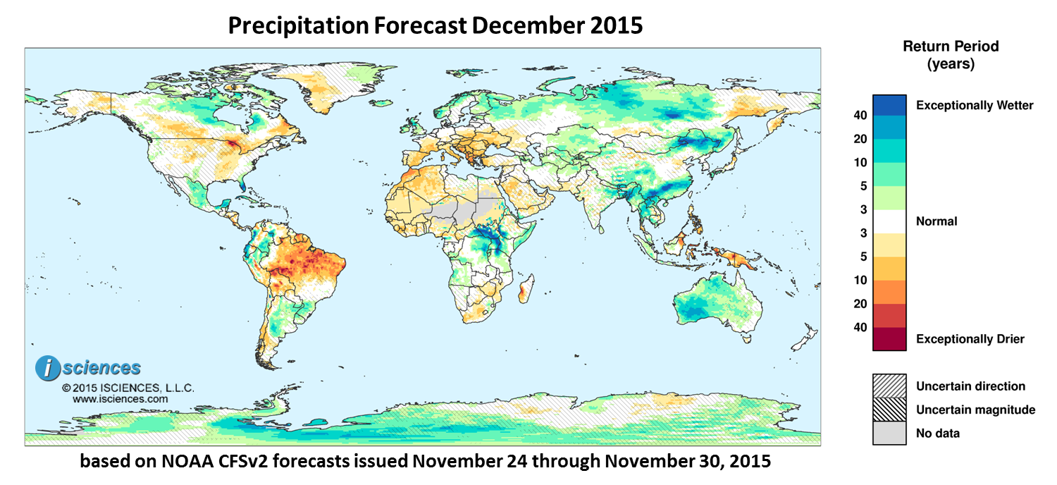 Precipitation outlook for December 2015. Reds indicate below normal monthly total precipitation. Blues indicate above normal monthly total precipitation. The darker the color, the more extreme the anomaly relative to a 1950-2009 climatic baseline. Colors are based on the expected return period of the anomalies.