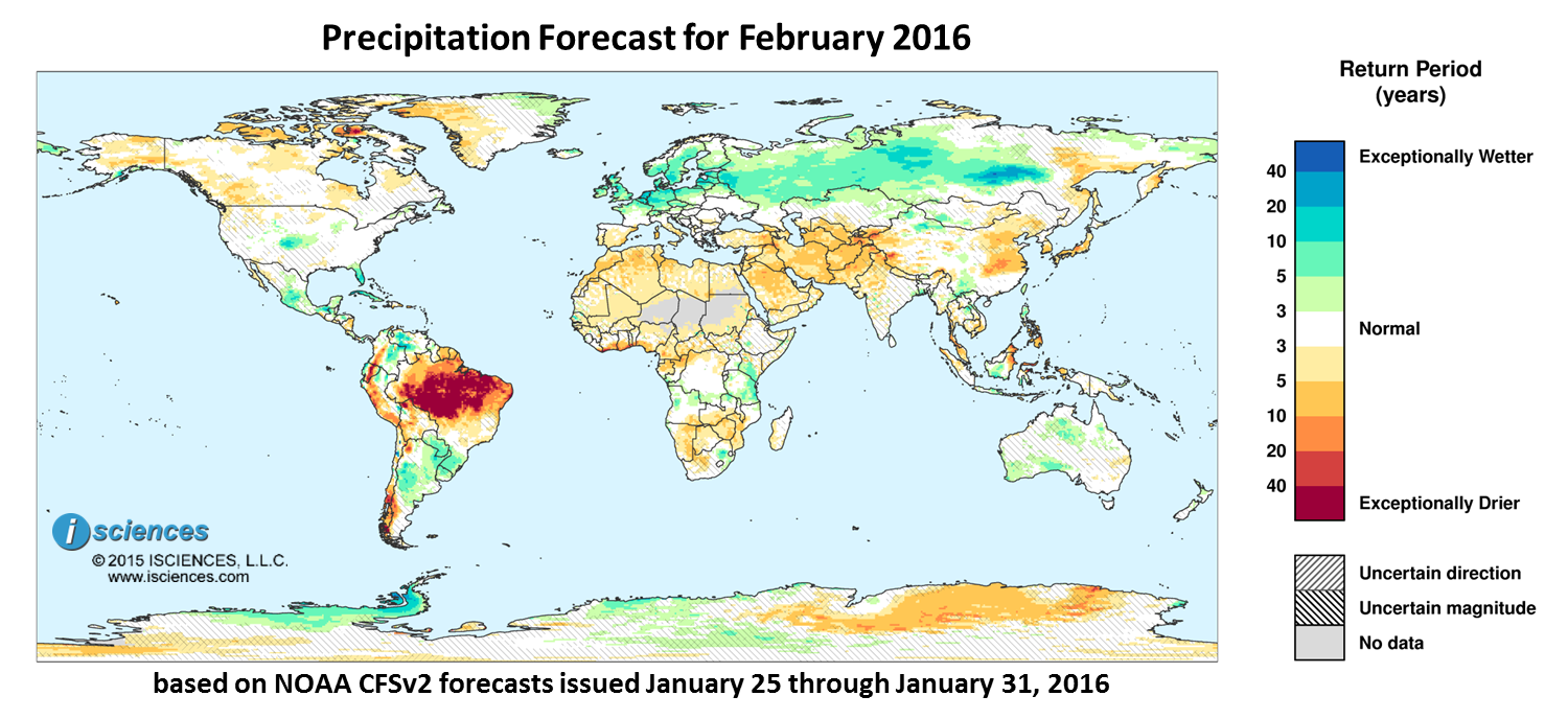 Precipitation outlook for January 2016. Reds indicate below normal monthly total precipitation. Blues indicate above normal monthly total precipitation. The darker the color, the more extreme the anomaly relative to a 1950-2009 climatic baseline. Colors are based on the expected return period of the anomalies.