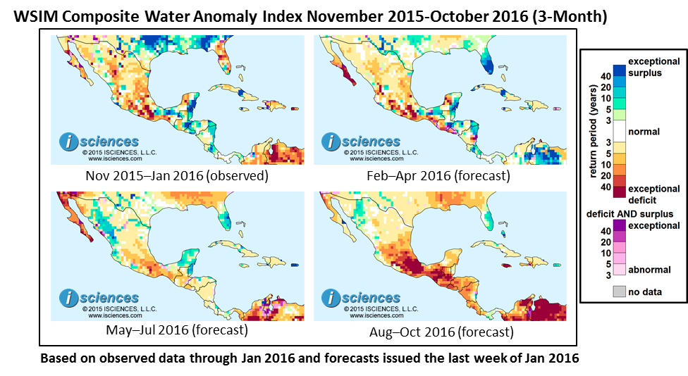 The 3-month maps (below) for the same time period shows the evolving conditions in more detail. Water deficits in southern Mexico are forecast to persist through May, moderate through June, and re-intensify July through October. Deficits may emerge on the Baja Peninsula in February, recede in March, but re-emerge for much of the remaining forecast period. Surpluses are forecast for the Yucatan Peninsula and will be most widespread April through June. By the end of the forecast period – July through October – abnormal to severe (3-20 year return period) water deficits are forecast for much of Central America. Exceptional deficits are forecast to emerge in Jamaica August through October.  (It should be noted that forecast skill declines with longer lead times.)