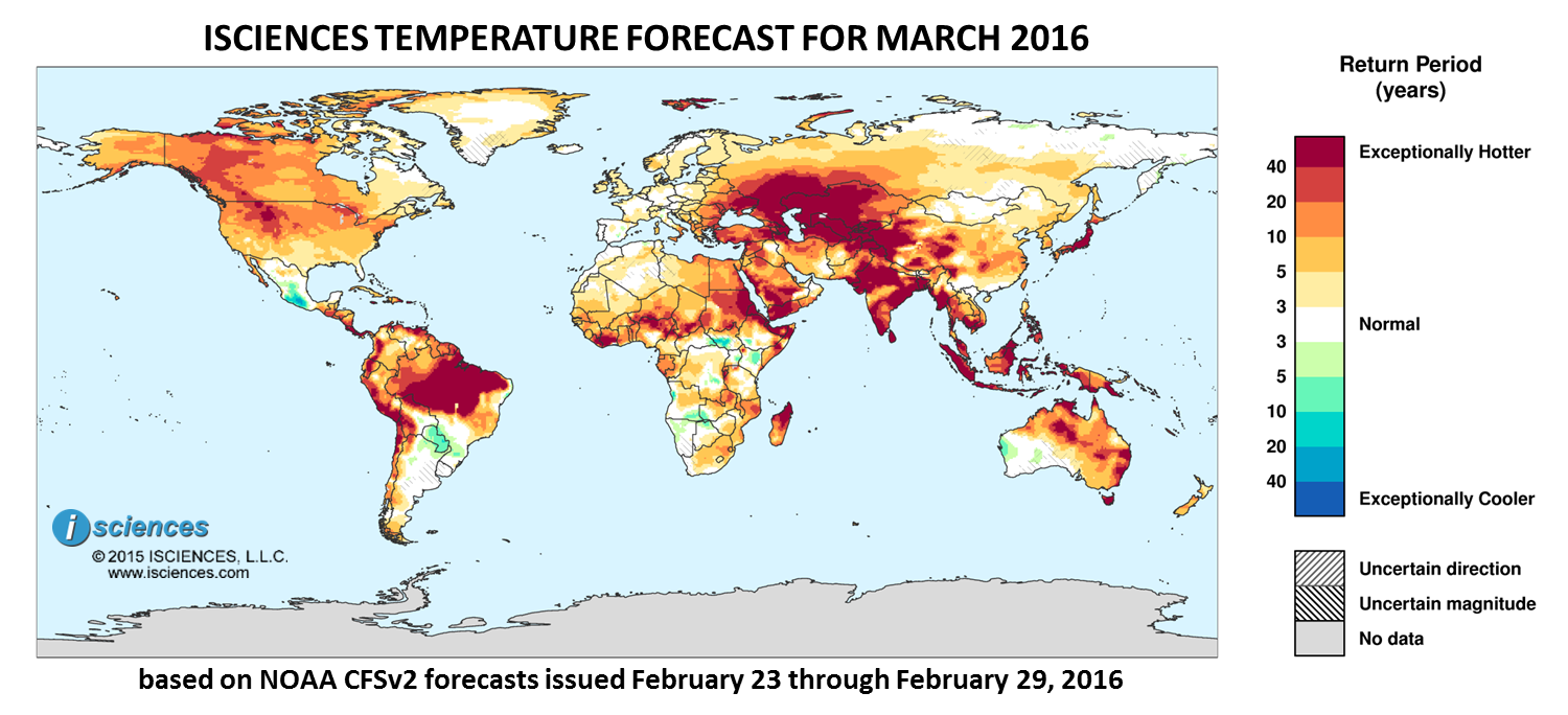 Temperature outlook for March 2016. Reds indicate above normal monthly average temperature. Blues indicate below normal monthly average temperature.The darker the color, the more extreme the anomaly relative to a 1950-2009 climatic baseline. Colors are based on the expected return period of the anomalies.