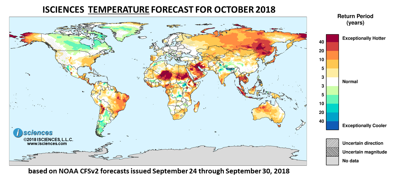 Temperature outlook. Reds indicate above normal monthly average temperature. Blues indicate below normal monthly average temperature. The darker the color, the more extreme the anomaly relative to a 1950-2009 climatic baseline. Colors are based on the expected return period of the anomalies.