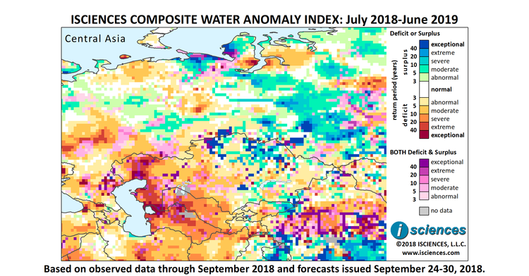 Central Asia & Russia: Intense water surpluses forecast between the on euphrates river map, yenisey river map, hudson bay on world map, china world map, altai mountains world map, white sea world map, orinoco river map, siberia world map, maritsa river on map, yucatan peninsula on world map, iraq world map, danube world map, amu darya world map, ural mountains world map, philippines world map, yangtze world map, appalachian mountains on world map, japan world map, caucasus mountains world map, sea of okhotsk world map,