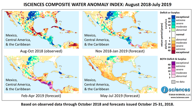 Map Of Central America Yucatan Peninsula.Mexico Central America The Caribbean Water Surpluses Persist In