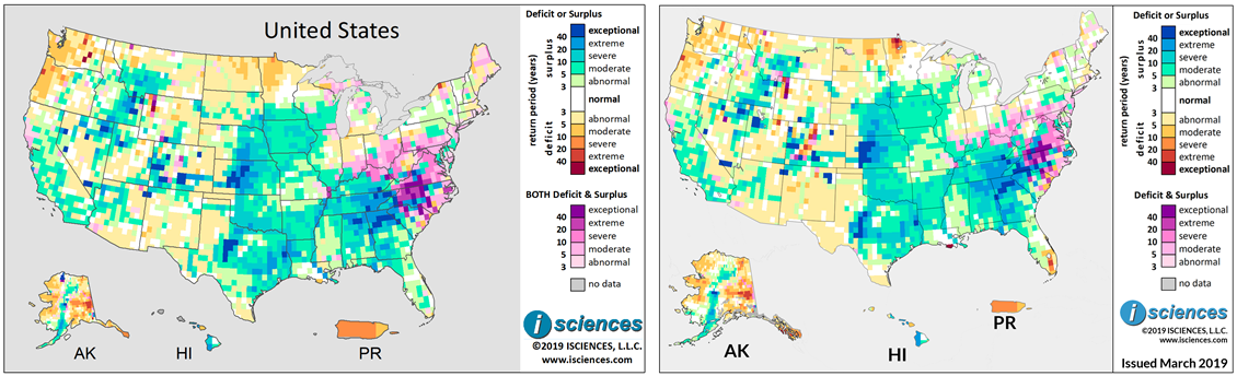 Figure 3. Composite surplus and deficit indicators using the original composite method for the 12-month period December 2018 through November 2019 generated by WSIMv1 (left) and WSIMv2 (right). Maps are based on three months of observed and nine months of forecasted temperature and precipitation for the United States.