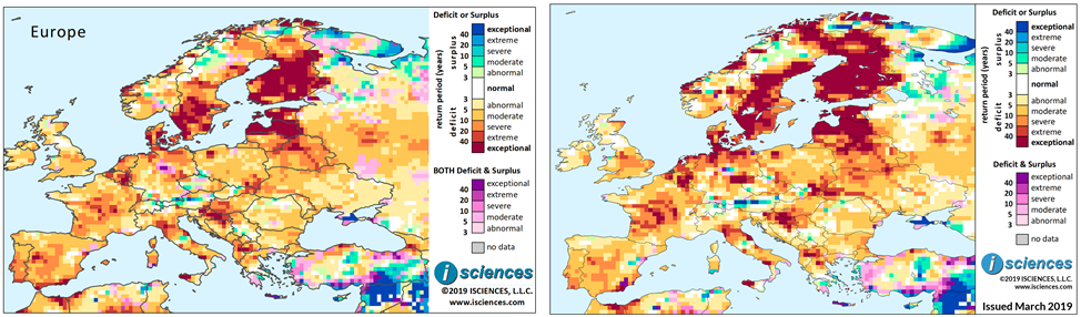 Figure 4. Composite surplus and deficit indicators using the original composite method for the 12-month period December 2018 through November 2019 generated by WSIMv1 (left) and WSIMv2 (right). Maps are based on three months of observed and nine months of forecasted temperature and precipitation for Europe.