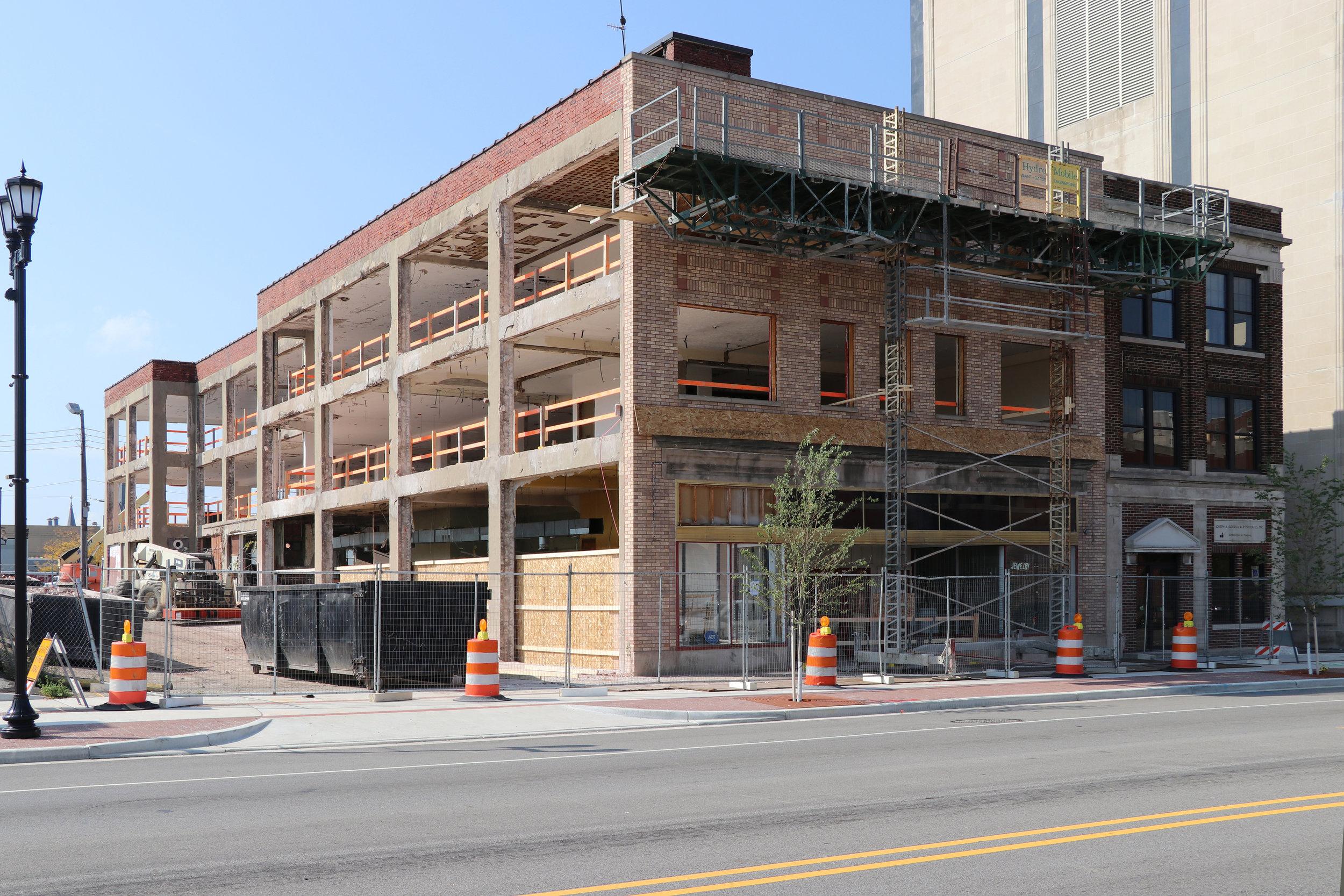 Renovation demo finished on Hibberd Building.