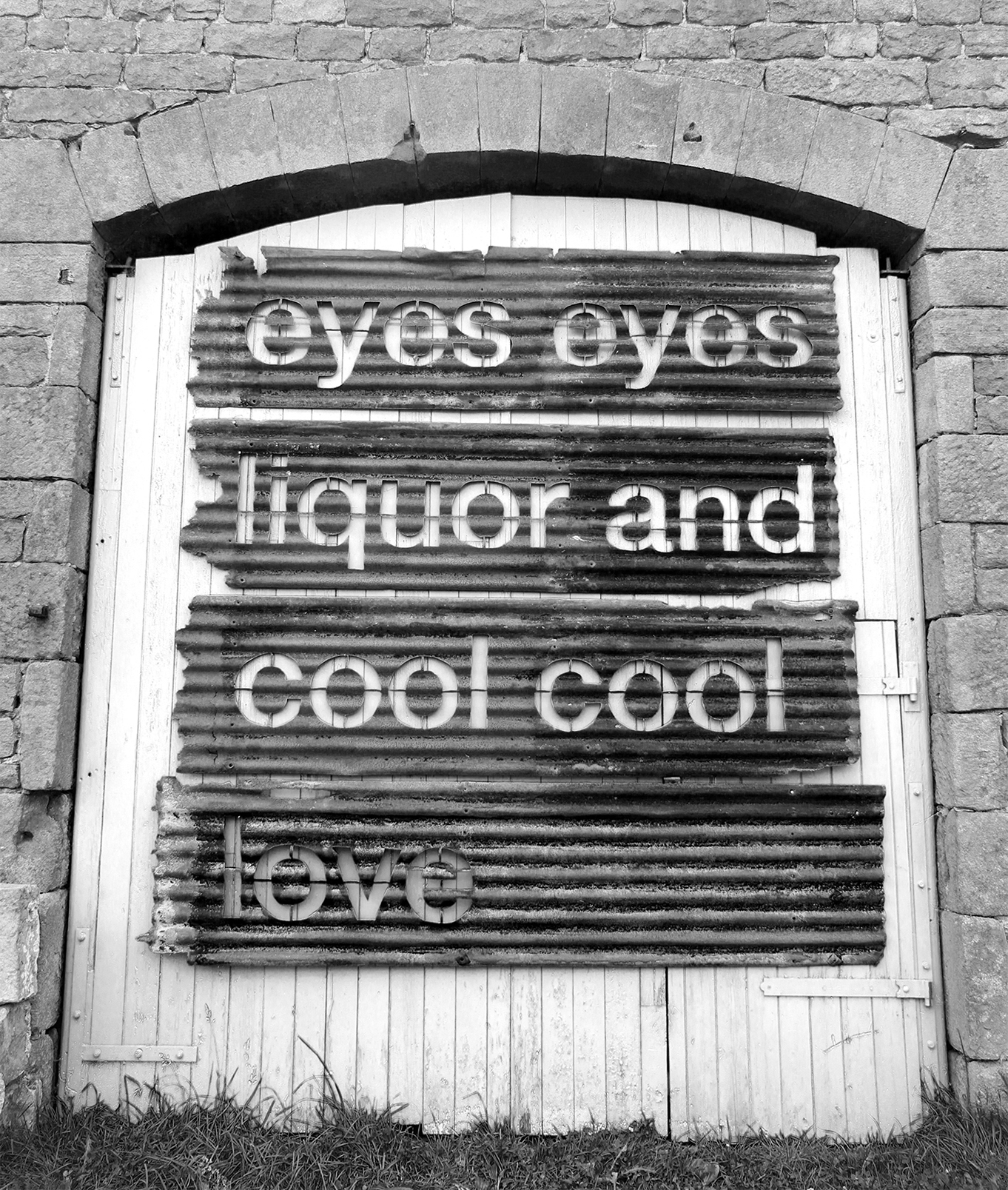 Untitled (Eyes Eyes Liquor and Cool Cool Love)  Corrugated Iron  260 x 269 x 10 cm  2015