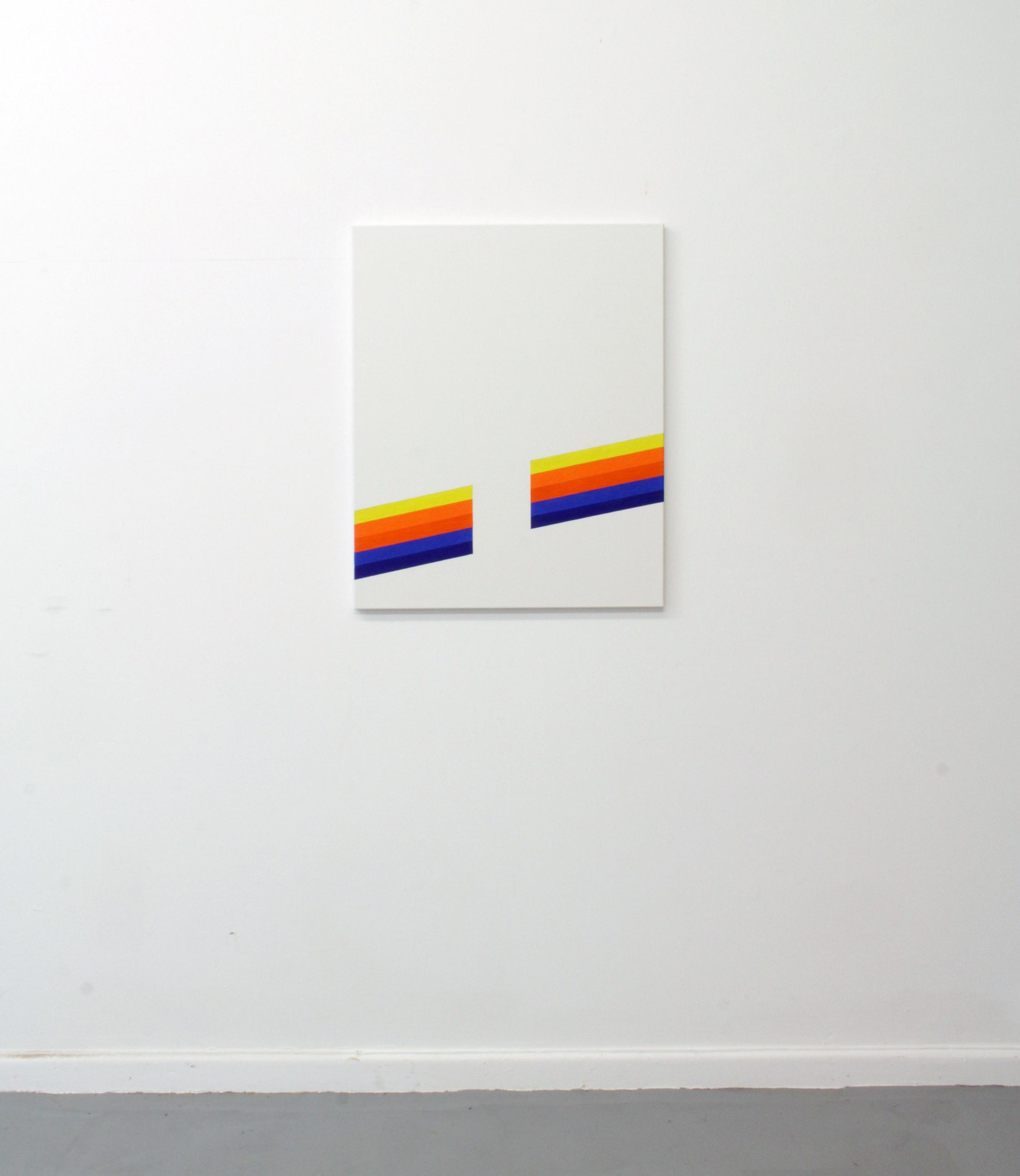 Yellow, Orange and Blue (Stripes)  Oil on linen  63 x 78 cm  2017