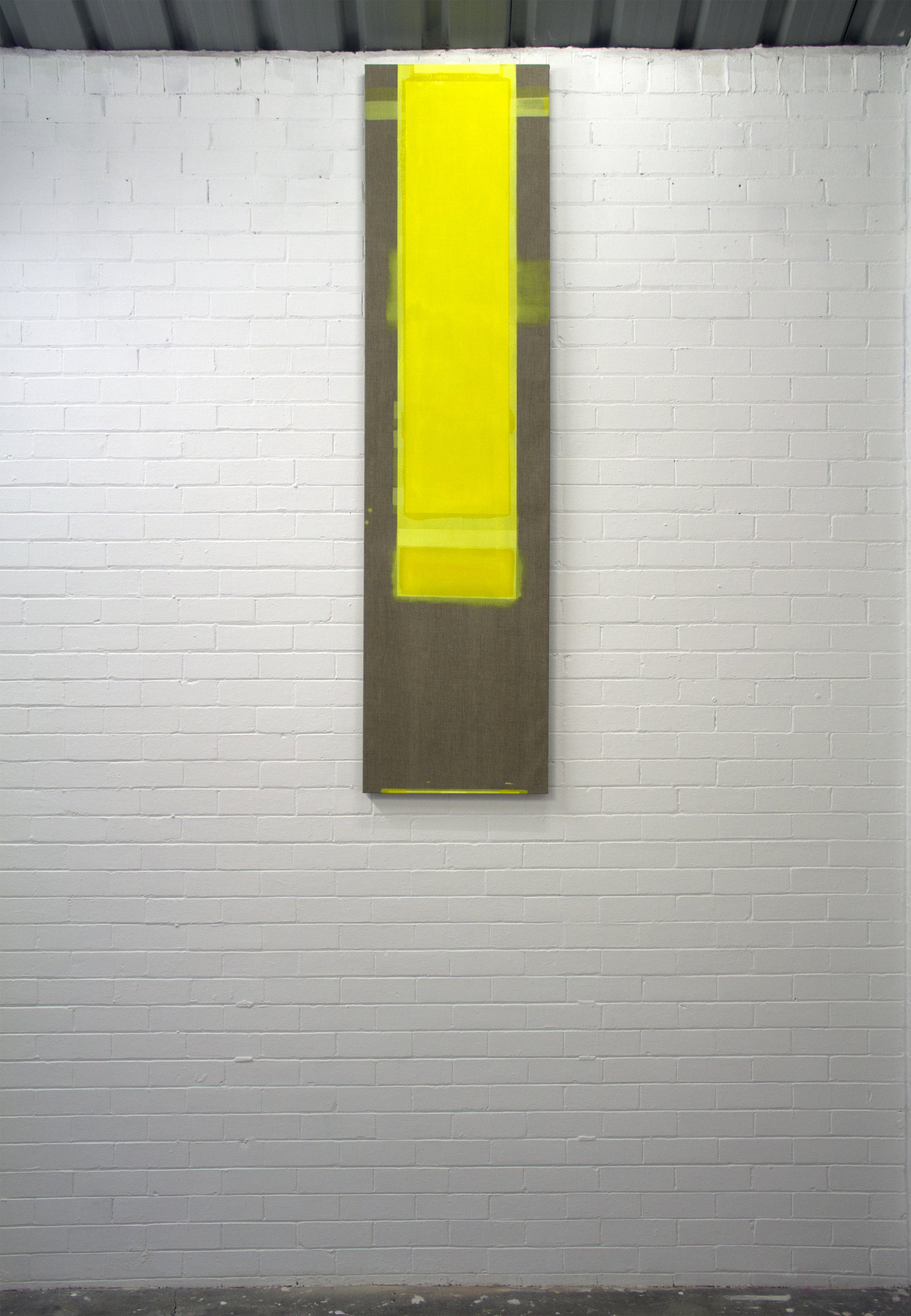 Yellow Capital  Flashe and ink on linen  55 x 218 cm  2017