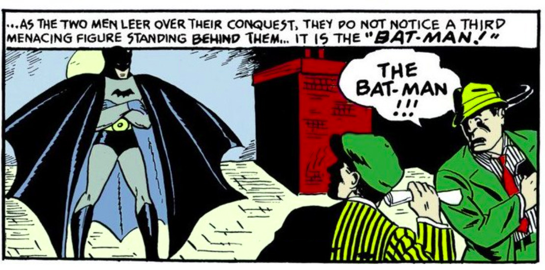 Bat-Man's first ever appearance inside comic books, well sorta.