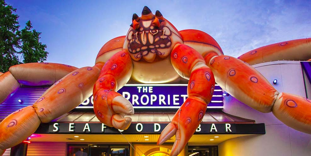 Here in the Woo the giant crab which sits atop The Sole Proprietor during Crab Fest has been affectionately named Buster.