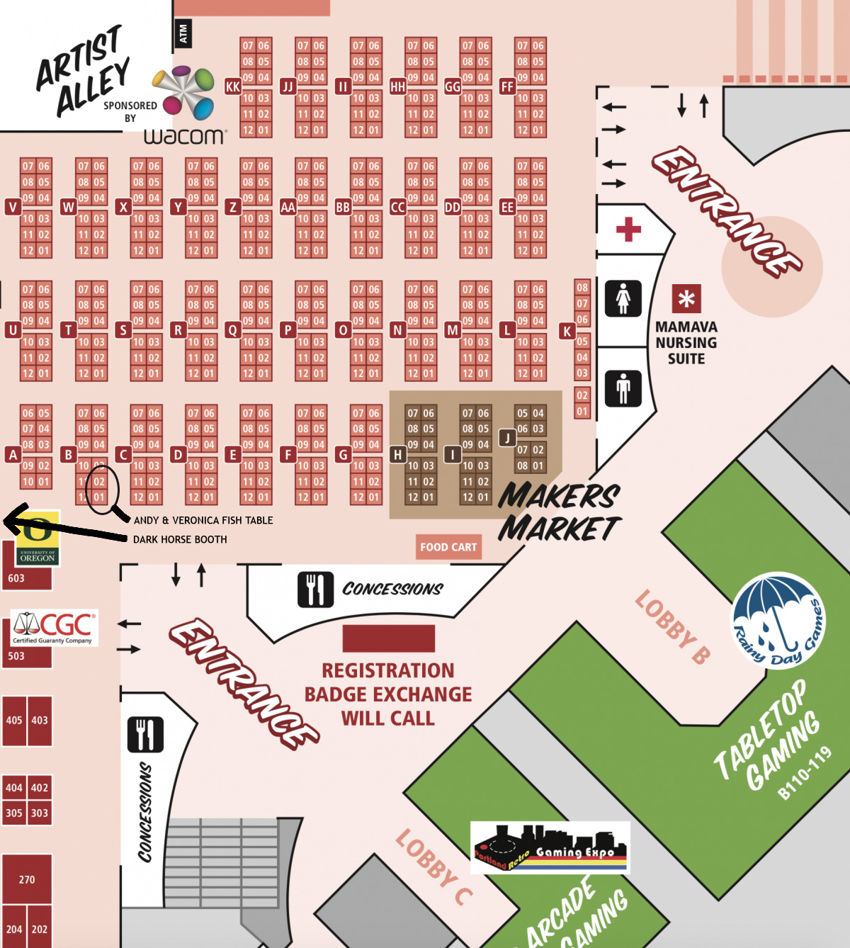 Map shows our Tables— we're only a few tables away from our home publisher DARK HORSE COMICS.