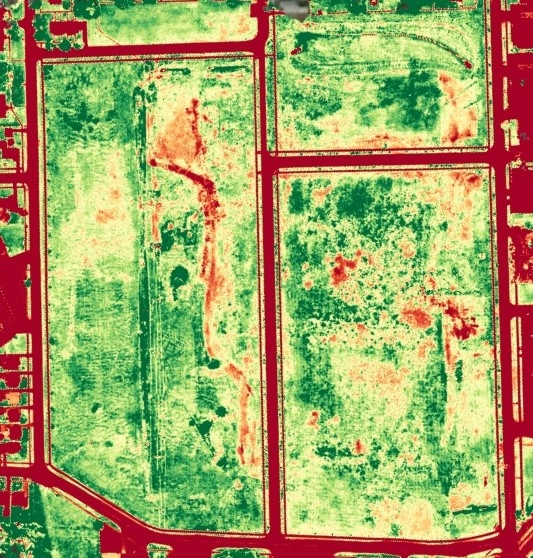 Using drone data we can identify potential areas of vegetation health deficiencies.