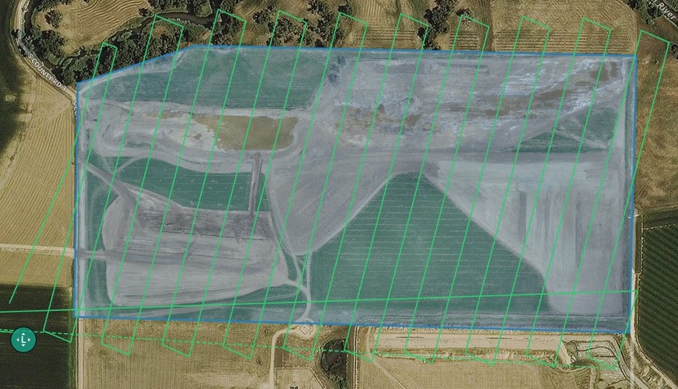 Planned drone flight capturing nadir imagery, < 1 hour