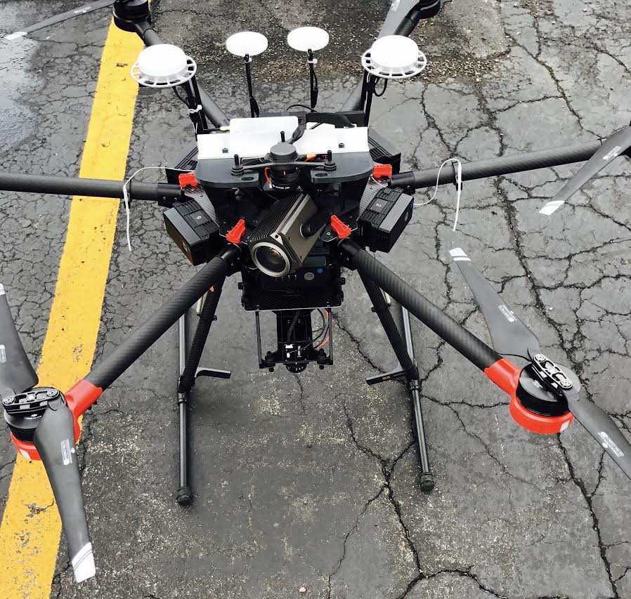 EagleHawk's custom hexacopter with dual camera payloads (top & bottom), fully integrated with GPS and RTK positional systems.
