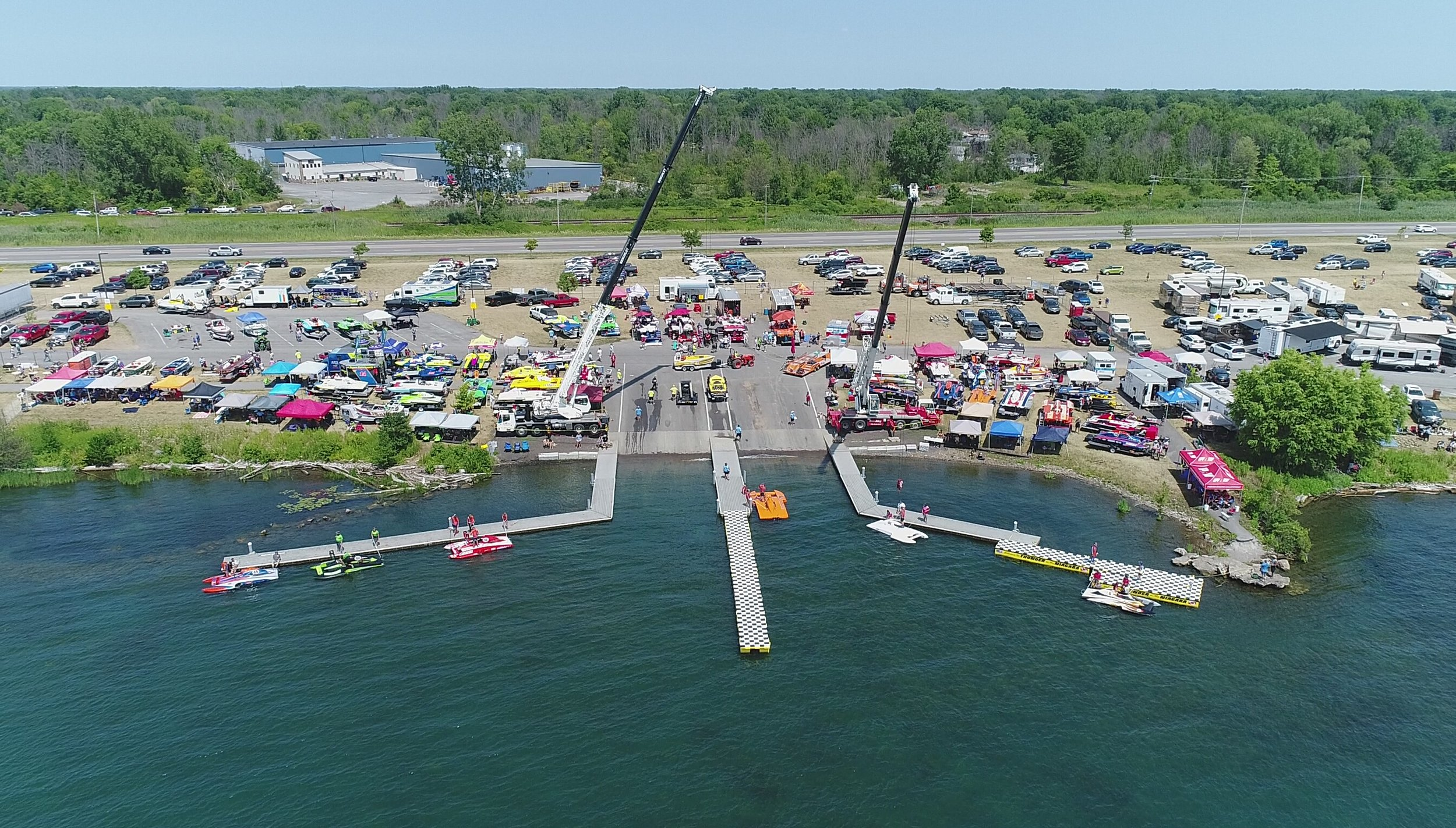 Aerial view of Thunder on the Niagara from one of EagleHawk's drones.