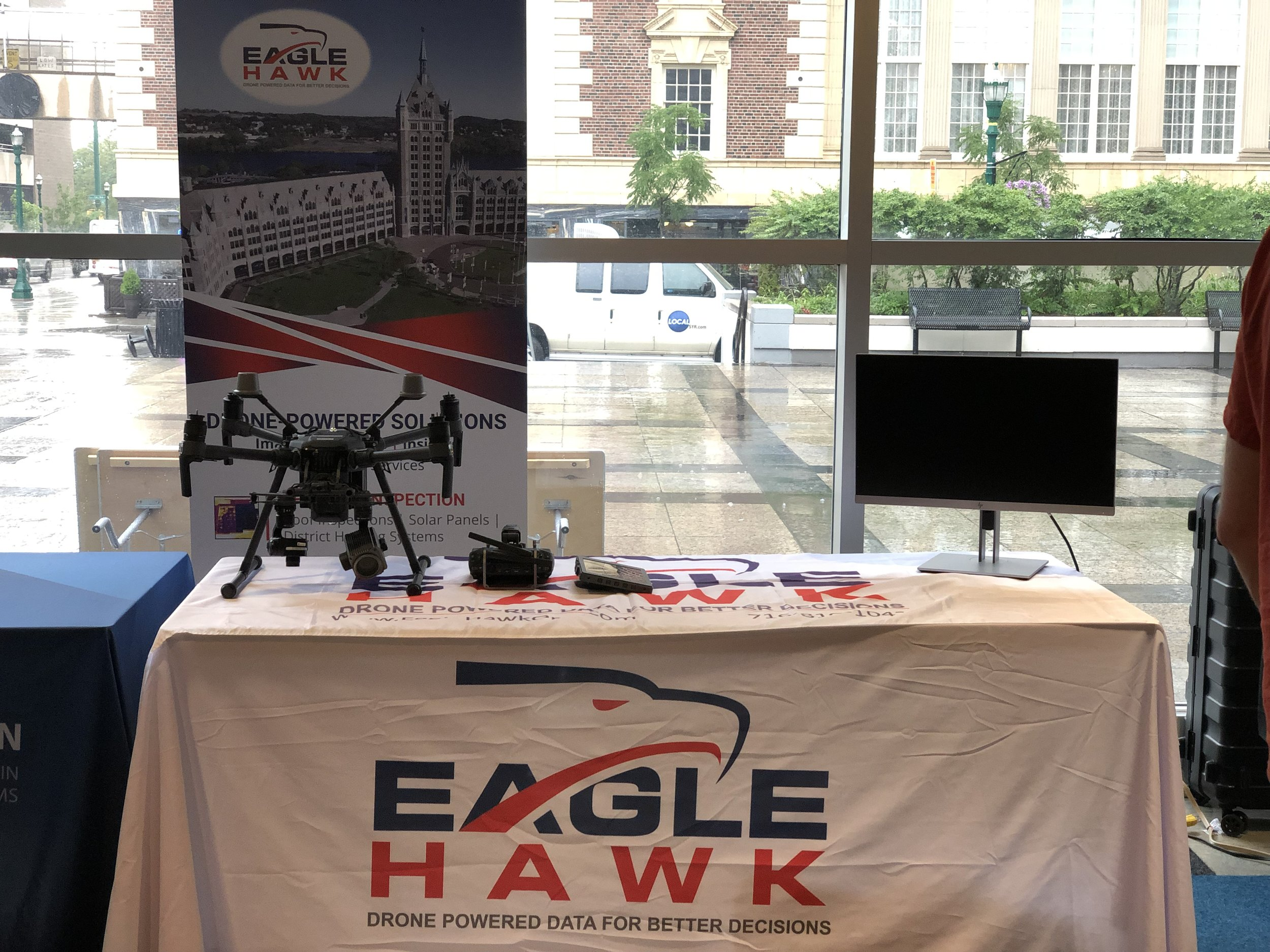 EagleHawk's display table at the Drones Over Downtown community event.