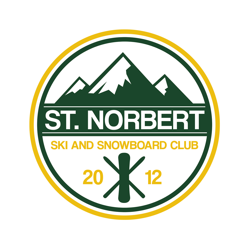 Logo design for St. Norbert College's ski and snowboard club.