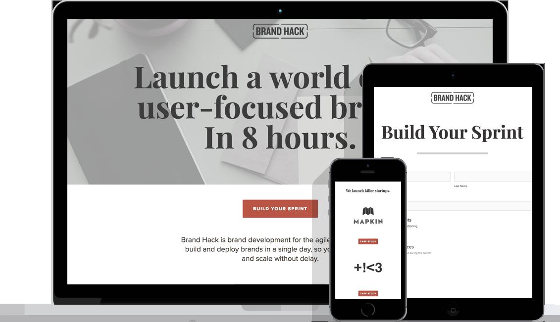 Brand Hack's website lets startups design their own branding sprint