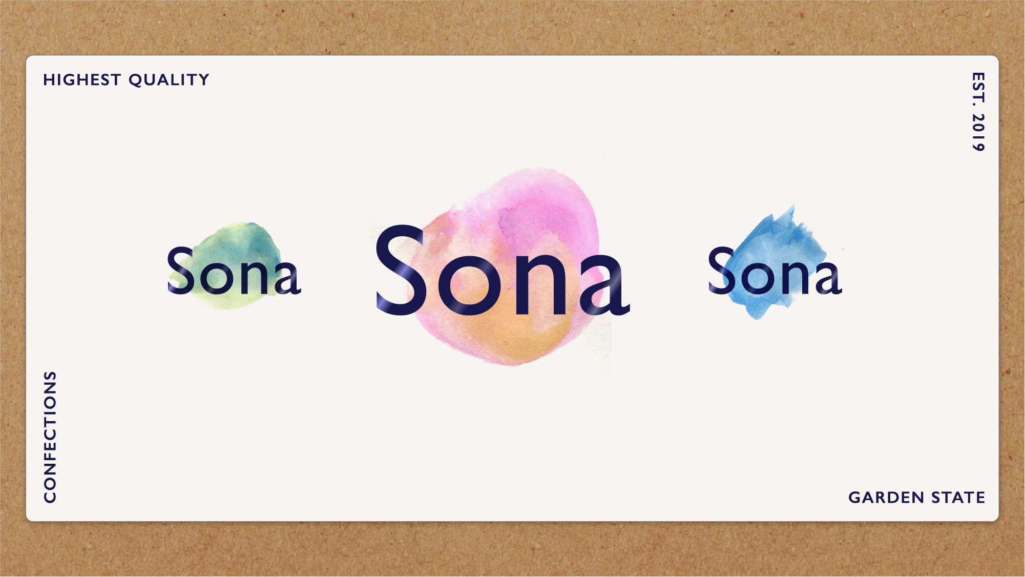 Option 1: Watercolor smudges with Gill Sans metallic type