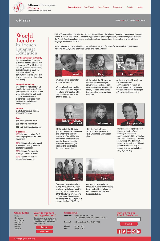 Website: Classes Mockup