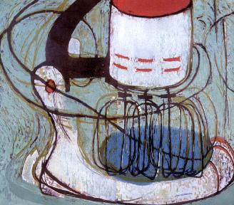 "Carrie's Mixer, 3 x 4"", Woodcut, 2010"