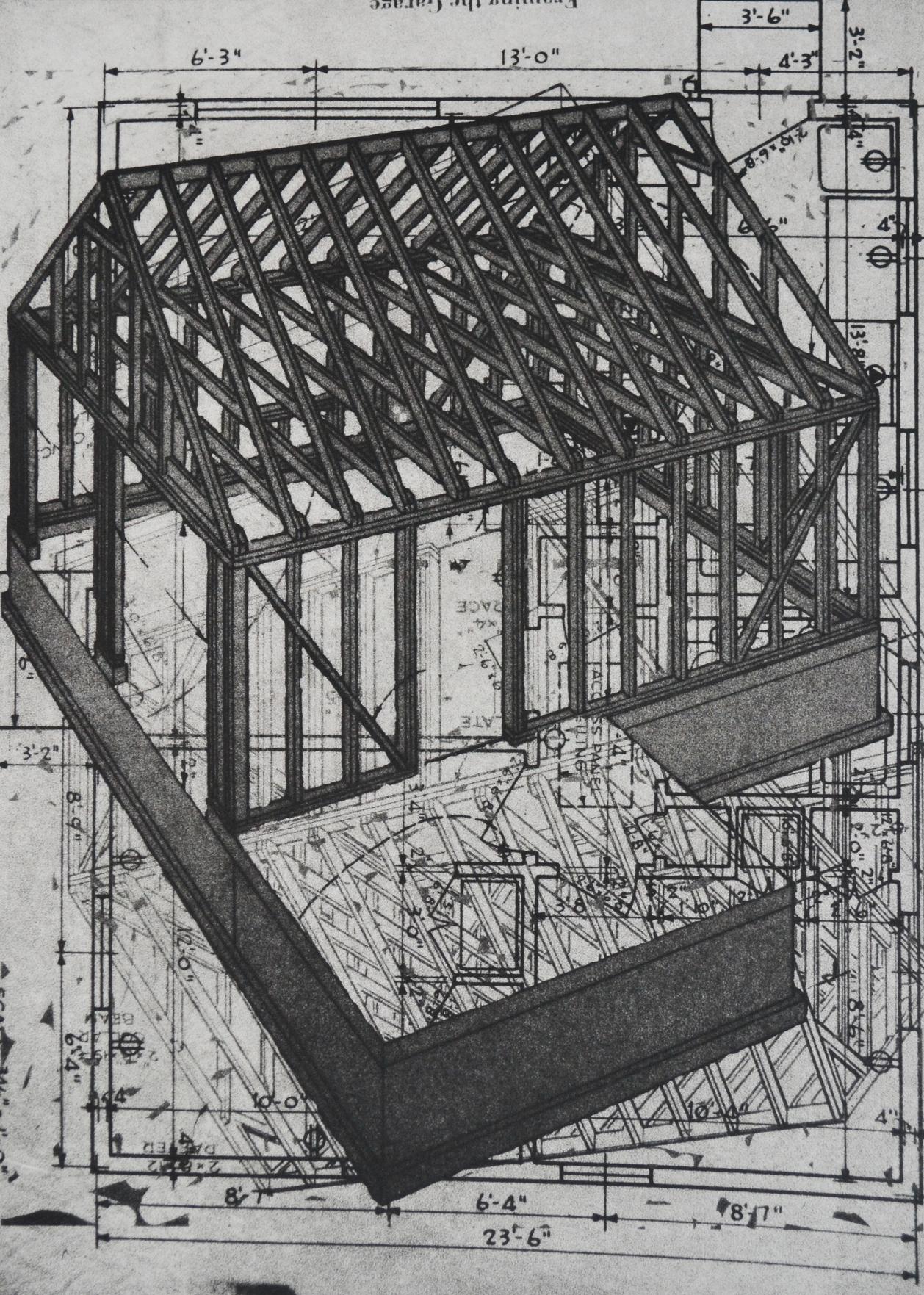 "Framing the Garage, 14 x 9.75"", polymer plate, 2014"