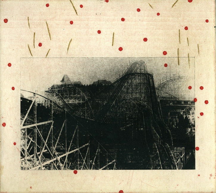 """Sticks and Stones, 6x7"""", Polmer Plate and Intaglio, 2005"""