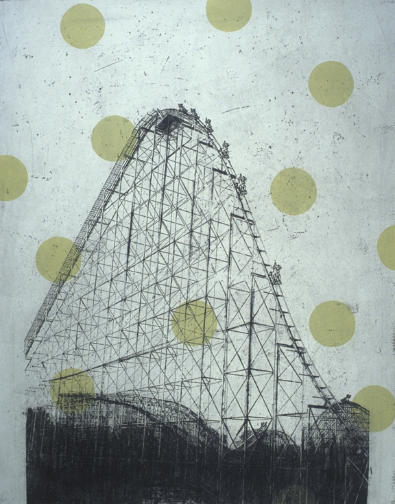 """Midway Melancholy, 24x18"""", Intaglio and Relief, 2004"""