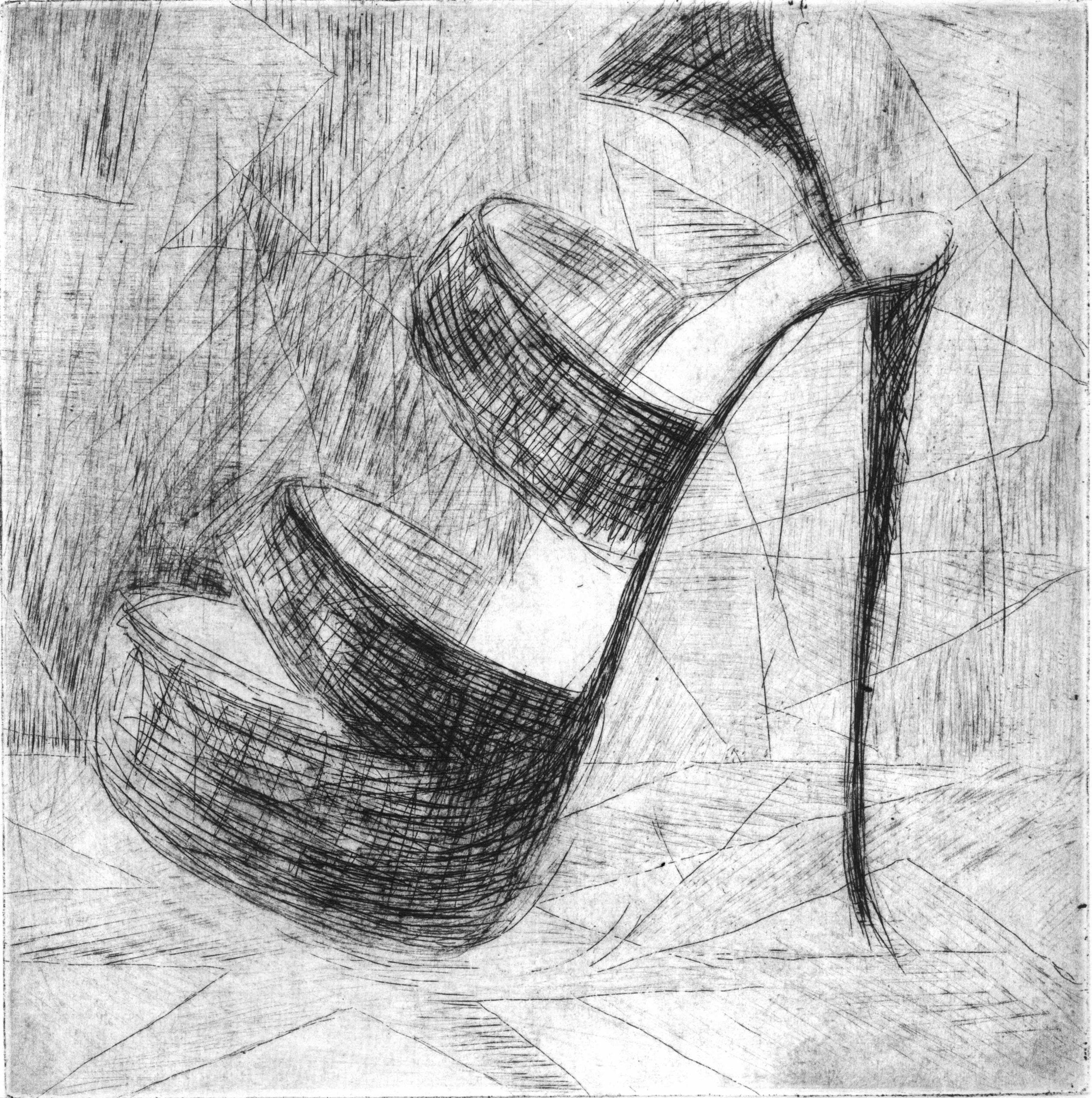 "Jo's Place, 6 x 6"", Intaglio, 2016"