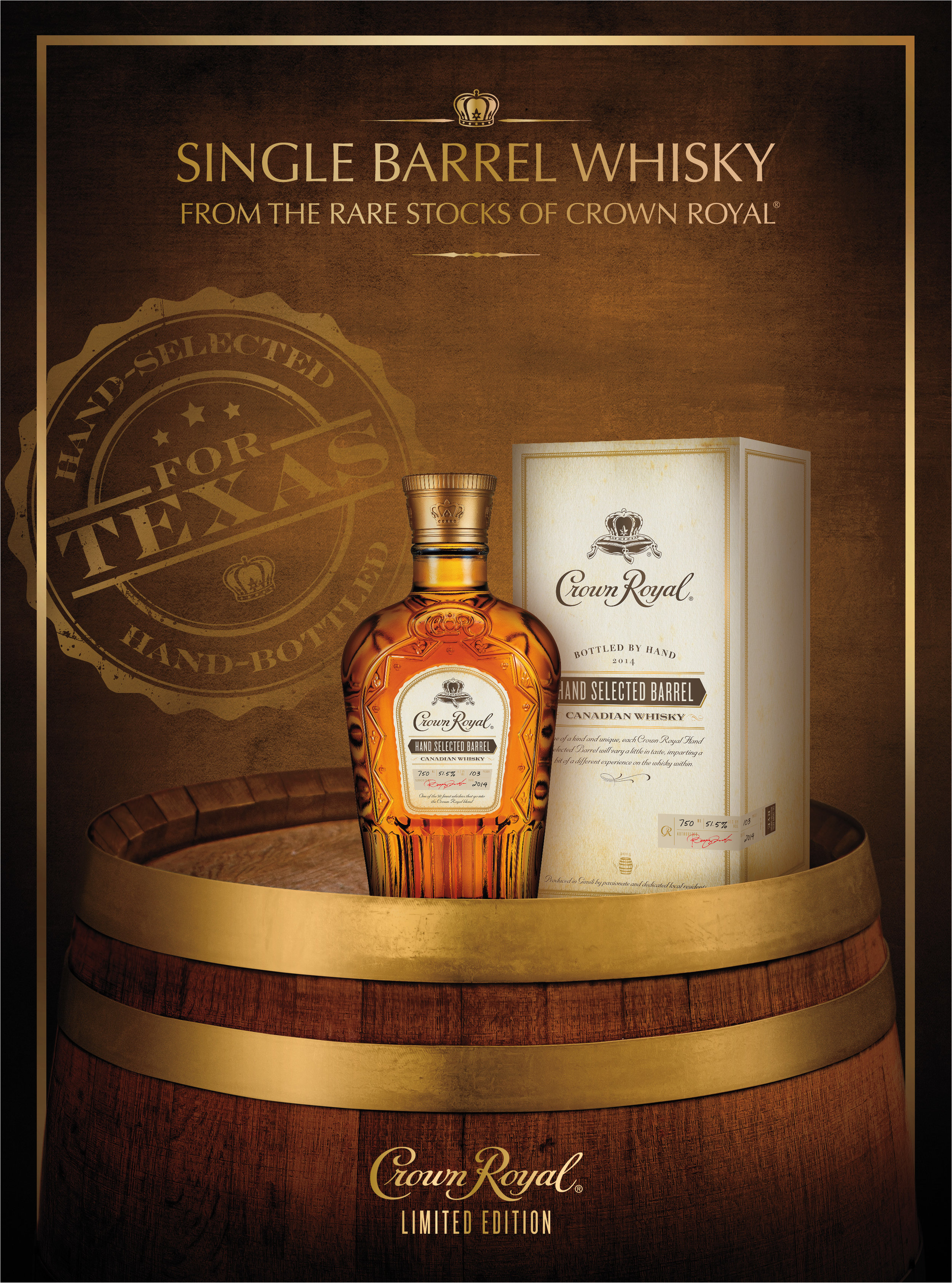 Launch creative for limited time Crown Royal Hand-Selected barrel