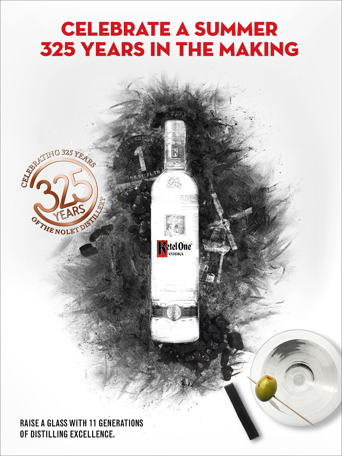 Conceptual hero creative for the 325th year Anniversary, celebrates specific elements of the brand through the use of charcoal (which is essential in the making of Ketel One Vodka).