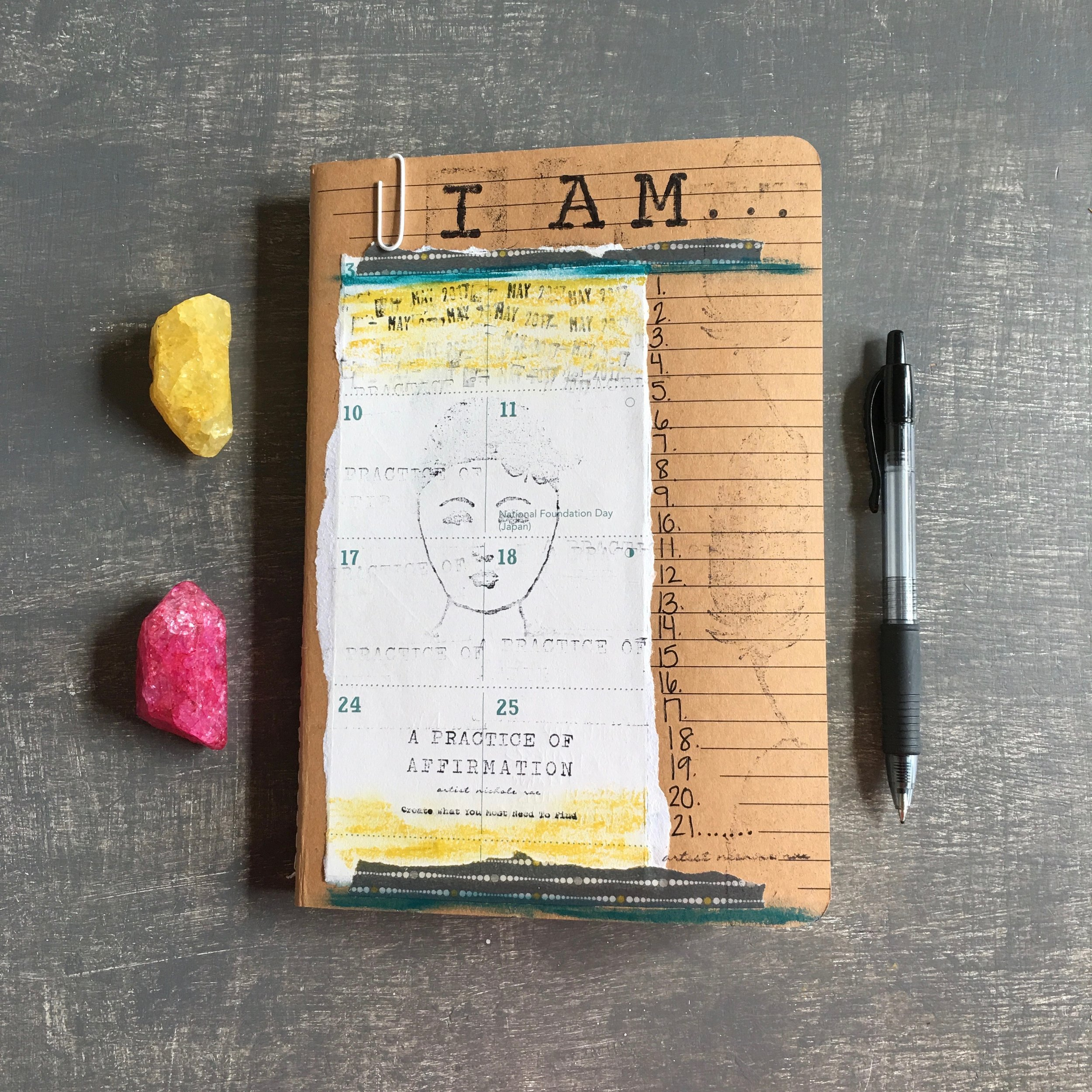 A PRACTICE OF I AM AFFIRMATION JOURNALING COURSE  - Inspire a daily practice using I AM affirmations to inspire your creative spirit in 8 areas of you life. We will explore journaling I AM affirmations and cultivating an outspoken practice as well. Supply kit Included + Digital E-guide Course.DETAILS2.5 HOURS | $40  PER PERSON | INCLUDES ALL SUPPLIESPRIVATE WORKSHOP: MIN. 3 GUESTSWORKSHOP CAPACITY @ MY STUDIO: 6OFF SITE LOCATION:  UP TO 30 GUESTS LARGER GROUPS CAN BE ACCOMMODATED