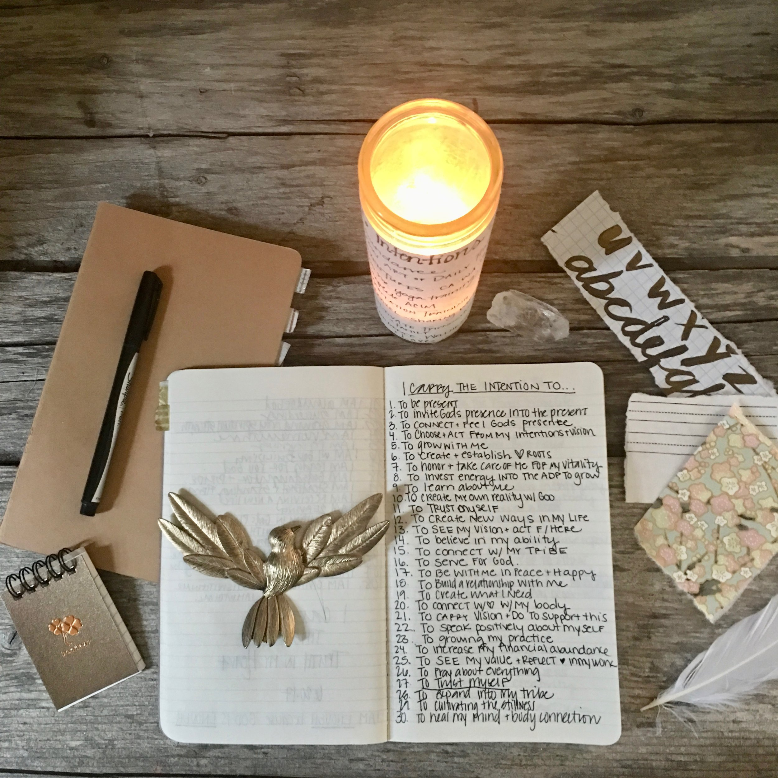 INTENTION CANDLE + JOURNALING PRACTICE -  Unfold into A Practice of Intention. Together we will practice the Art of Daily Practice's foundational Intention Journaling practice + create an intention candle to
