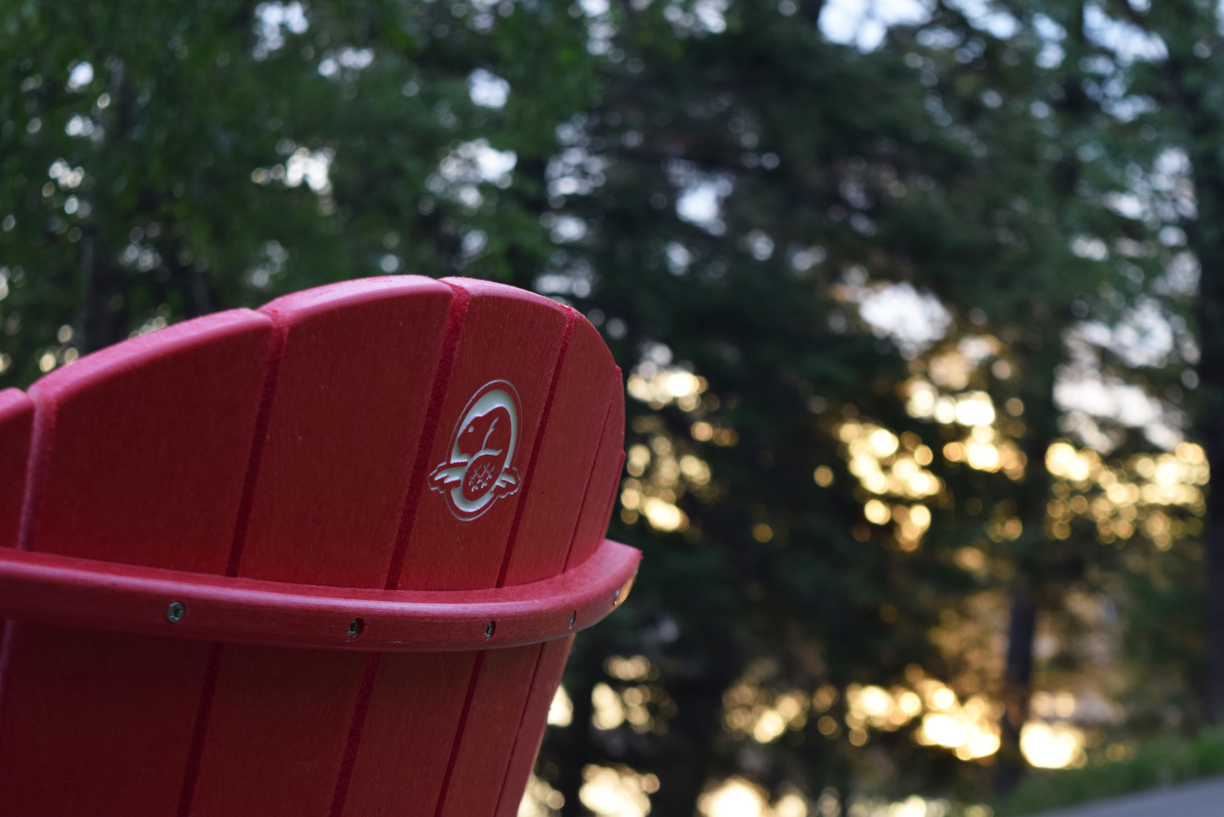 Parks Canada branded red chairs