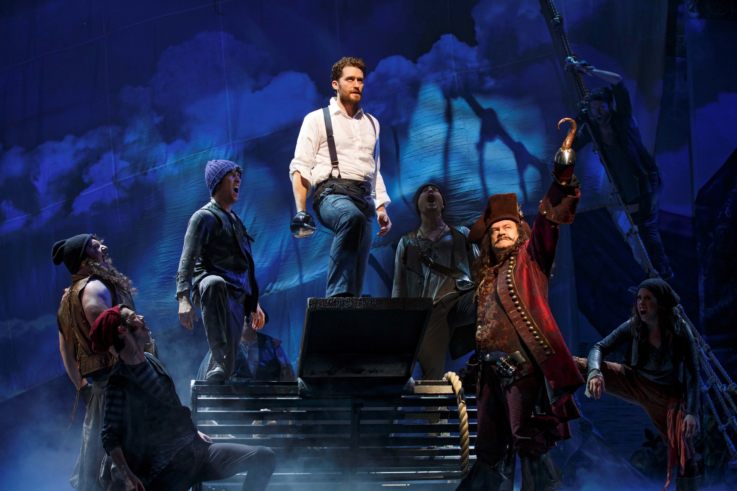 Finding Neverland (c)Carol Rosegg    Matthew Morrison (center) and Kelsey Grammer (Captain Hook, front right) with the ensemble of Finding Neverland