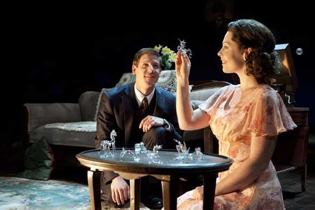 Jeb Burris (left) as Jim O'Connor and Sara J. Griffin as Laura Wingfield in the Utah Shakespeare Festival's 2011 production of The Glass Menagerie. PHOTO BY KARL HUGH. COPYRIGHT UTAH SHAKESPEARE FESTIVAL 2011