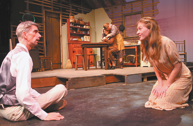 """Dancing at Lughnasa"" at the Wilton Playshop(Wilton, CT) are Patrick Duffy as Michael and Alexandria Clapp as Christina in the foreground. In back, Julie Thaxter-Gourlay as Maggie comforts Shelley Lepetich as Kate. Photo: Wilton Playshop"