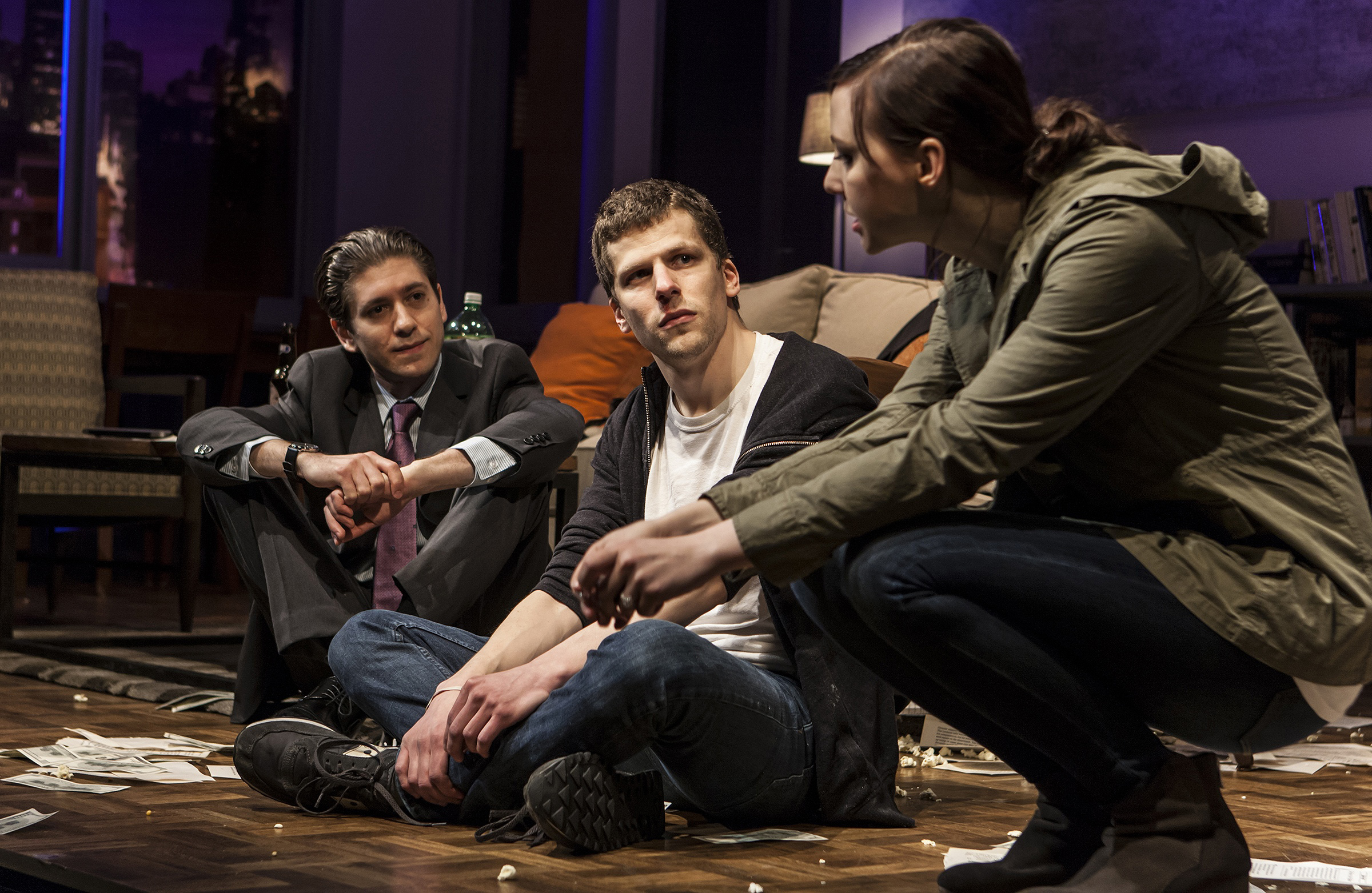 Pictured: Michael Zegen, Jesse Eisenberg & Erin Darke in The New Group production, The Spoils, a new play by Jesse Eisenberg, directed by Scott Elliott. A limited Off-Broadway engagement plays through June 28 at The Pershing Square Signature Center. For more, please visit www.thenewgroup.org. PHOTO CREDIT: Monique Carboni.