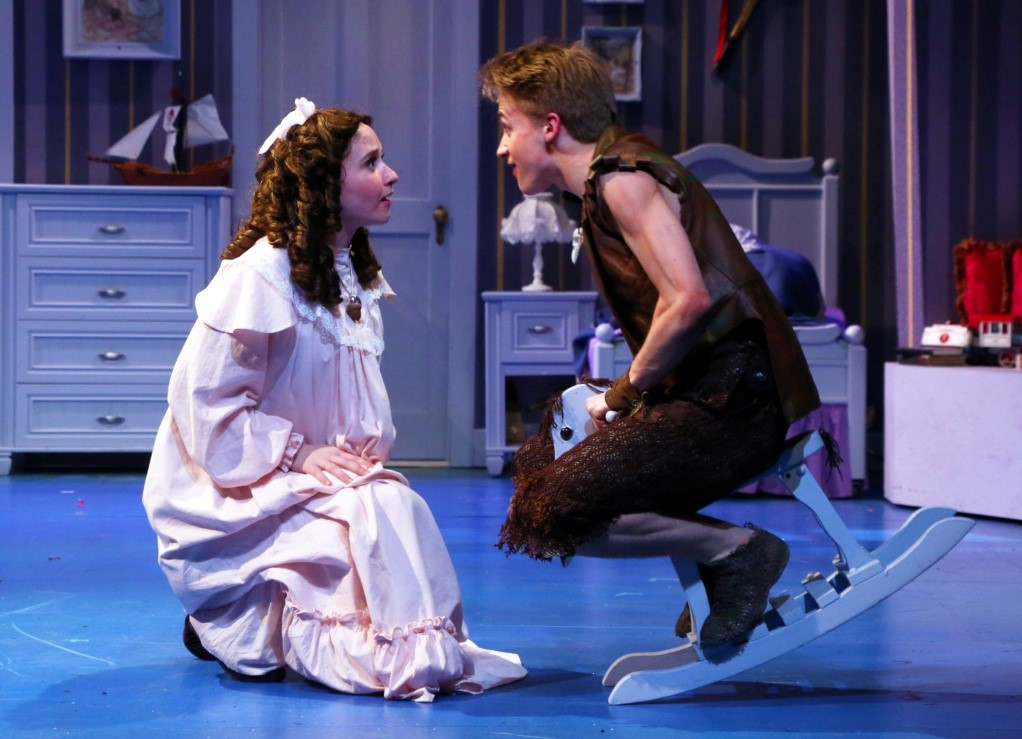 Maggie Bera (Wendy) and Riley Costello (Peter) in PETER PAN at Connecticut Repertory Theatre – June 2015