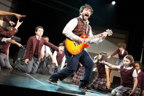 """Alex Brightman (center) and the cast of """"School of Rock — The Musical."""" Photo: Timmy Blupe"""
