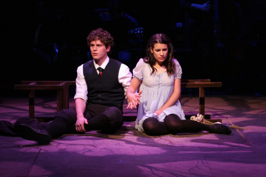 Jonathan Groff and Lea Michele in Spring Awakening. Photo Credit: Joan Marcus