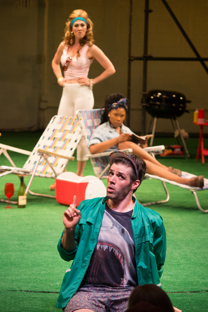 L-R: Kelley Curran as Adriana, Cloteal L. Horne as Luciana and Aaron Bartz as Dromio of Ephesus. Photo by Enrico Spada.