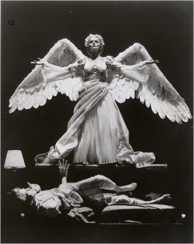 "Stephen Spinella, with Ellen McLaughlin as the angel, in the original 1990s Broadway production of ""Angels in America."" Credit Joan Marcus"