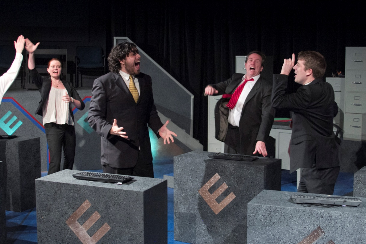 Kristen Bennett, Ryan Thomas, Michael Vernon Davis and Ryan Wantroba in ENRON at Hole in the Wall Theater - July 2015