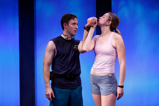 L-R: J.J. Kandel and Clea Alsip in 10K written and directed by Neil LaBute, part of Summer Shorts 2015 at 59E59 Theaters. Photo by Carol Rosegg