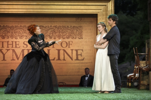 Kate Burton, Lily Rabe, and Hamish Linklater in The Public Theater's Free Shakespeare in the Park production of Cymbeline, directed by Daniel Sullivan, at the Delacorte Theater in Central Park. Photo credit: Carol Rosegg