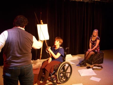 Mark Hale Jr, Jill Summerville, Allison Brogan in Elysium Interrupted. Photo by C. Austin Hill